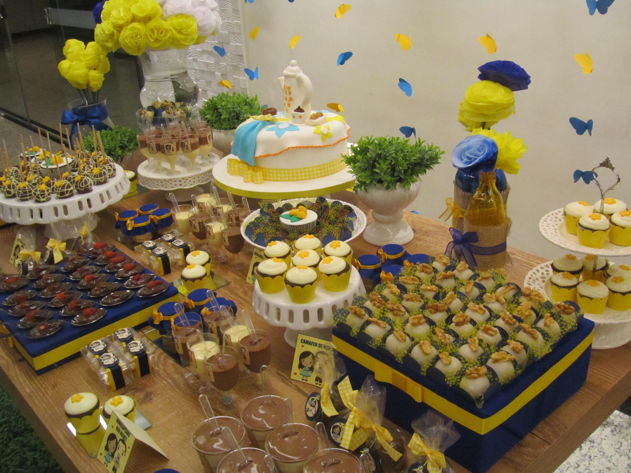 decoracao de cozinha azul e amarelo:Chá de Cozinha Amarelo e Azul!